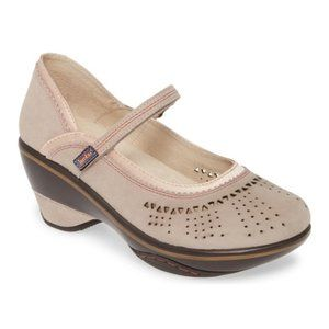 Jambu Lido Mary Janes Taupe Suede Sport Wedge 7.5